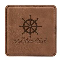 Dark Brown Square Leatherette Coaster