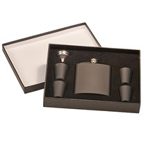 6 oz. Matte Black Stainless Steel Flask Set