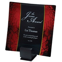 Laser Engraved Red Rectangle Glass Tray - 2 Sizes