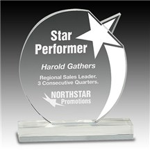 Clear Crystal Round Shooting Star Award - 2 Sizes