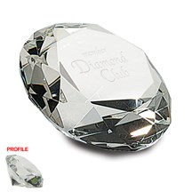 Faceted Diamond Optic Crystal Paperweight - 2 Sizes