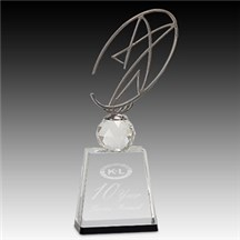 Clear/Black Crystal Award w/ Metal Star -3 Sizes