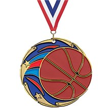 Full Color Shooting Star Basketball Medal