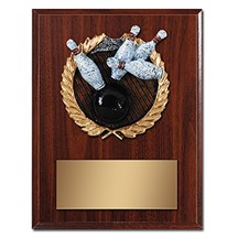 Bowling Plaque with Bowling Resin Relief