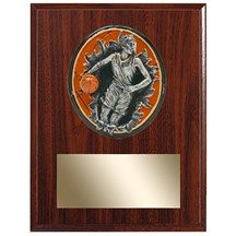 Female Basketball Plaque w/ 3D Heavy Resin Plaque Mount - 2 Sizes