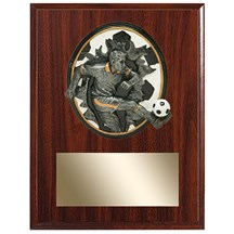 Male Soccer Plaque w/ 3D Heavy Resin Plaque Mount - 2 Sizes
