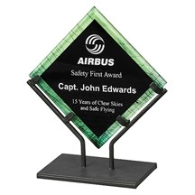 Green Acrylic Art Plaque w/ Iron Stand- 3 Sizes