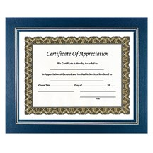 Leatherette Certificate Holder - Blue