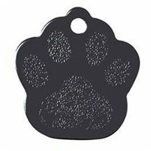 Black Paw Print Pet Tag