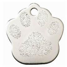Silver Paw Print Pet Tag