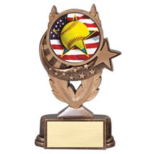 Softball Trophy with Baseball Mylar