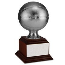 Silver Basketball w/ Wood Base - 2 Sizes