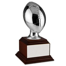 Silver Football w/ Wood Base - 2 Sizes