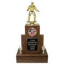 Large Genuine Walnut Wrestling Trophy - 3 Sizes