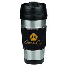 16 oz. Stainless Steel Leatherette Grip Travel Mug - Blk