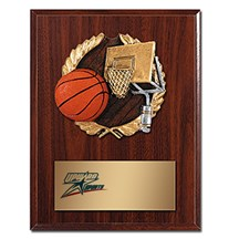 Basketball Plaque with Basketball Resin Relief