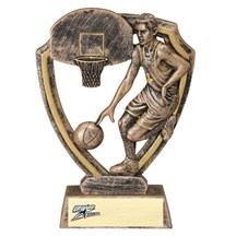 Resin Shield Series Basketball Trophy - 2 Sizes