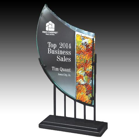 13 in Art Glass Award w/ Metal Base