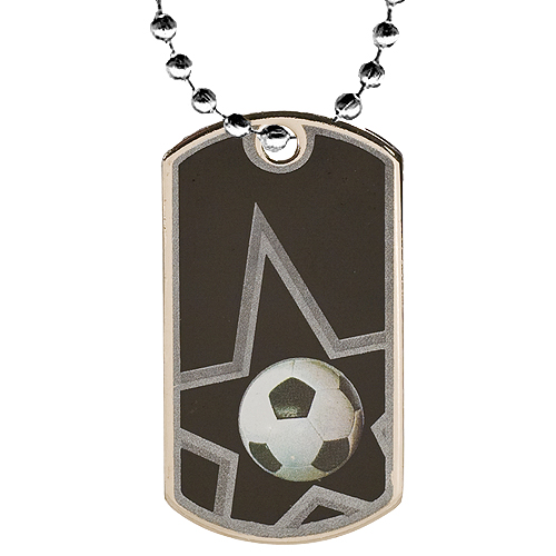2 in Soccer Dog Tag w/ 24 in Chain
