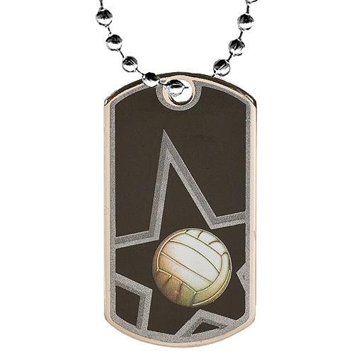 2 in Volleyball Dog Tag w/ 24 in Chain