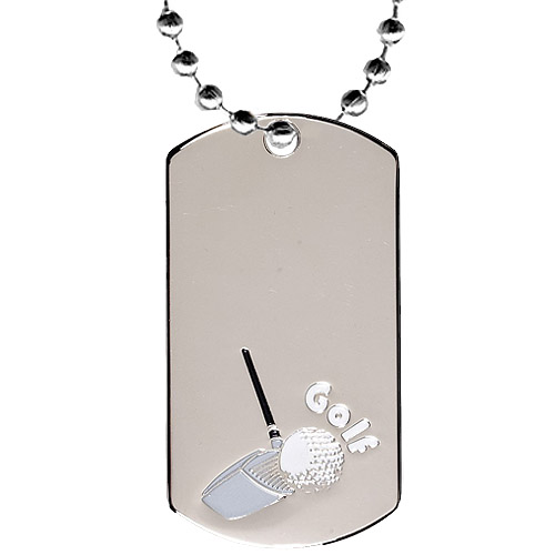 2 in Chrome Golf Dog Tag w/ 24 in Chain