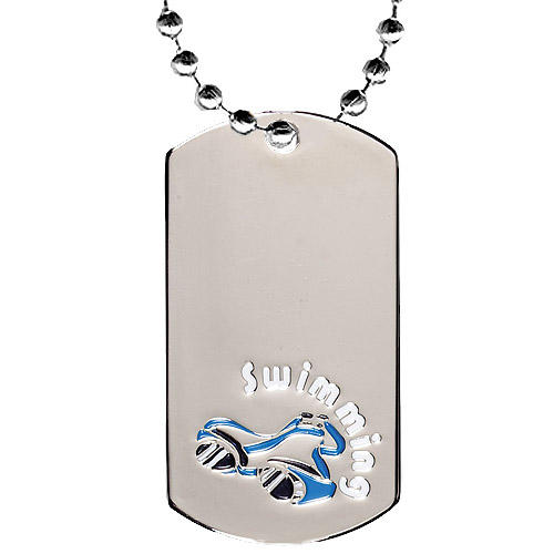 2 in Chrome Swimming Dog Tag w/ 24 in Chain