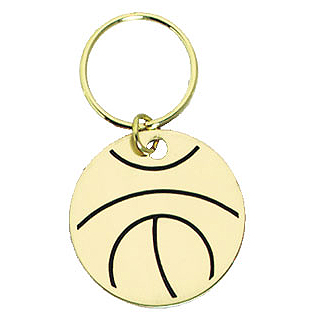 1.5 in Polished Brass Keychain - Basketball