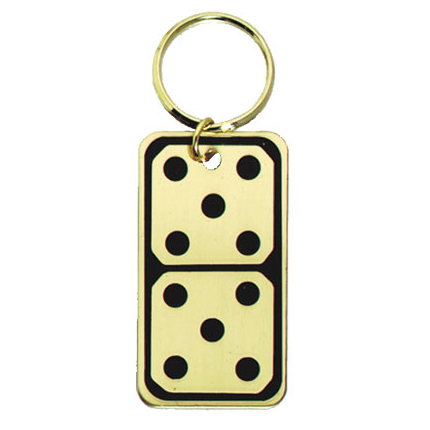 2.5 in Polished Brass Keychain - Domino