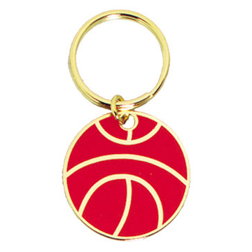 1.5 in Full Color Brass Keychain - Basketball