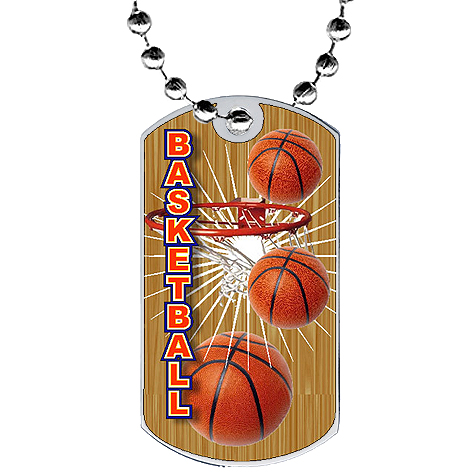 2 in Basketball Dog Tag w/ Epoxy Dome Graphics