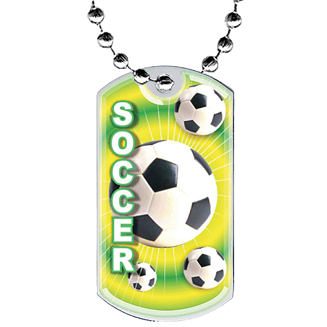 2 in Soccer Dog Tag w/ Epoxy Dome Graphics