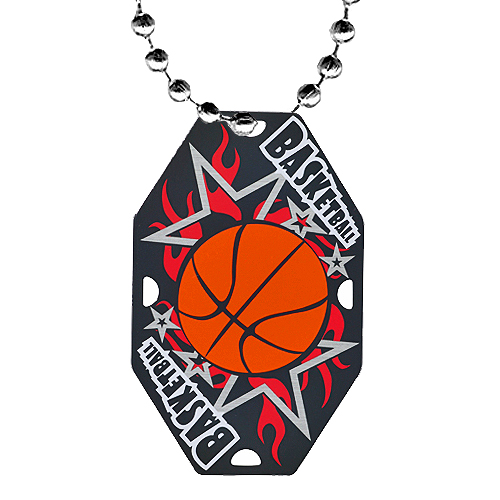 2.5 in Basketball Dog Tag w/ Chain