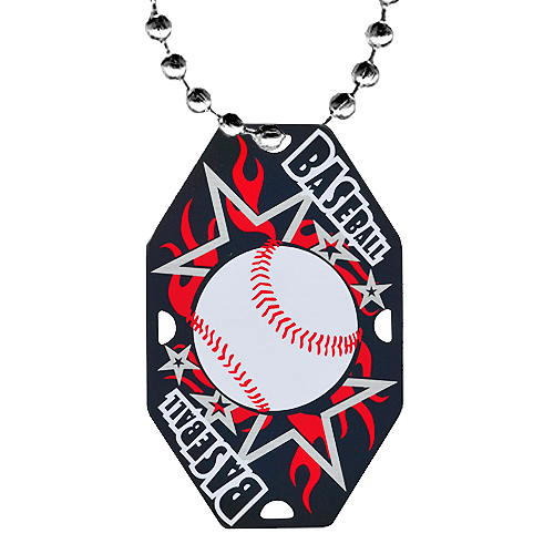 2.5 in Baseball Dog Tag w/ Chain