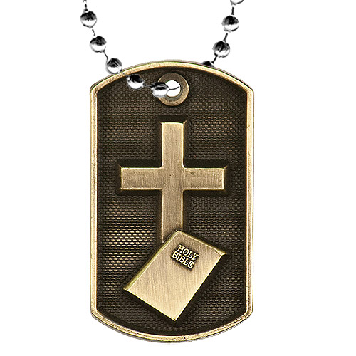 2 in 3D Religion Dog Tag w/ 24 in Chain