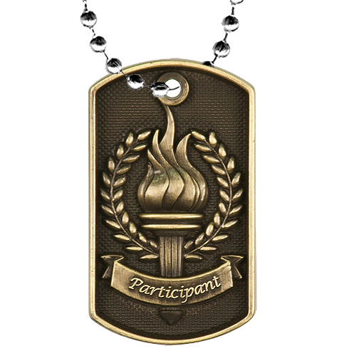 2 in 3D Victory Dog Tag w/ 24 in Chain