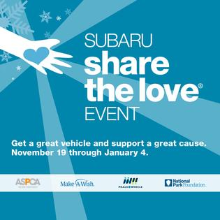 For the past 13 years, through the Subaru Share the Love Event, Subaru and its retailers have donated to charities like the ASPCA, Make-A-Wish, Meals on Wheels, the National Park Foundation, and over 1,400 hometown charities. In fact, by the end of this year, our thirteenth year, we will have donated over $200 million.