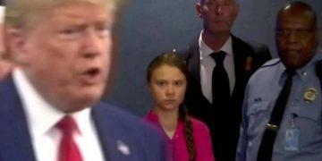 Greta Thunberg staring at Donald Trump