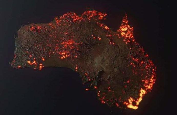 australia fire satellite photo