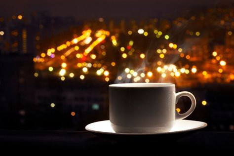 drinking coffee at night