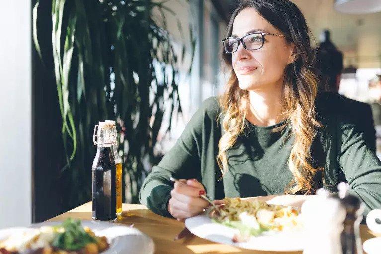 older woman eating healthy food