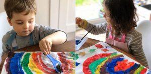 Children painting during coronavirus