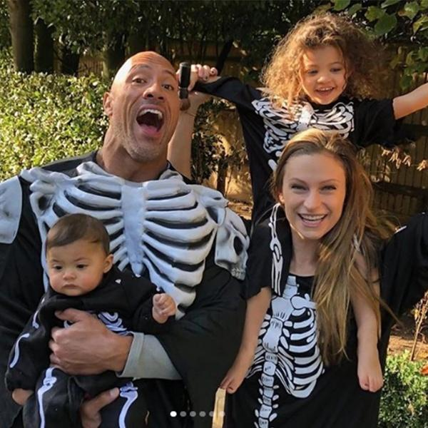 Dwayne Johnson with wife and daughters