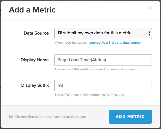 StatusPage Add Metric