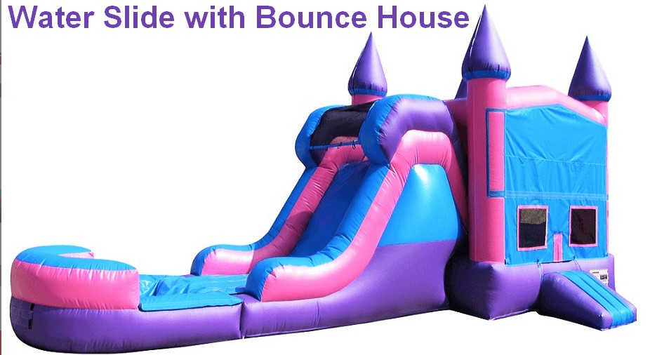 a water slide with bounce house