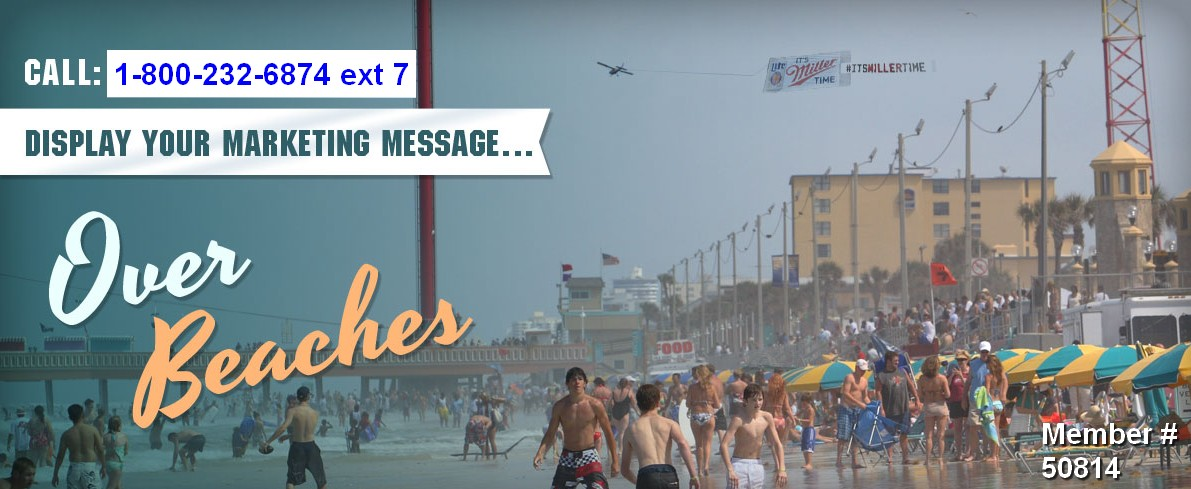 business advertising airplane banners over beaches nationwide