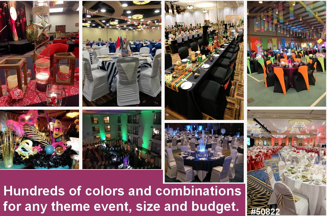 chair cover rentals black silver white colors