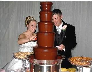 chocolate fountain rental wedding bride groom
