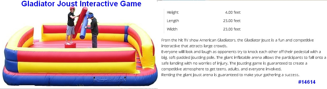 gladiator joust interative inflatable game rental