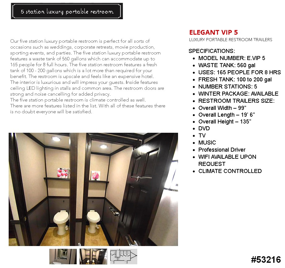 luxury 5 stall restroom trailer rental 53216