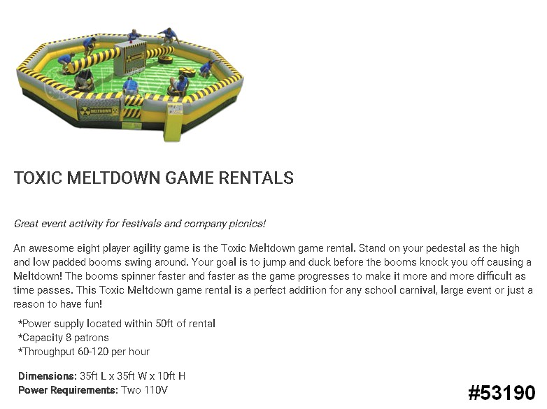 meltdown wipeout interactive game rentals